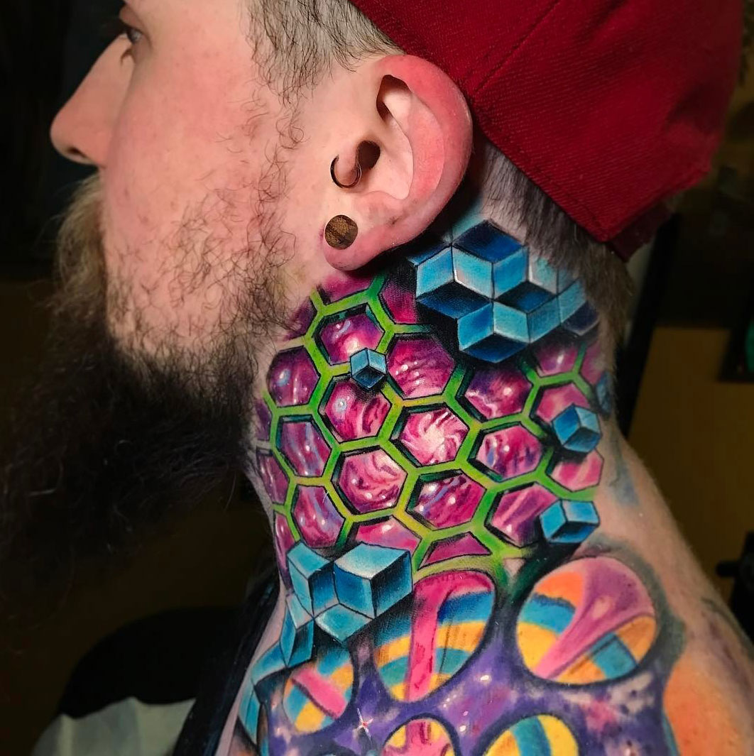 Trippy geometric space neck tattoo