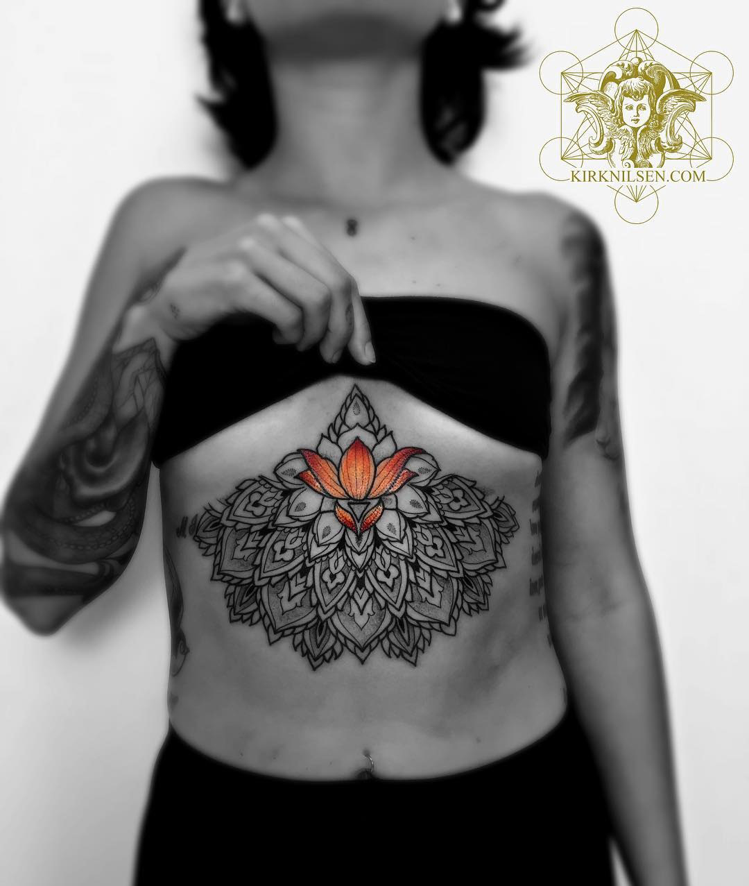Mandala & Lotus Flower Under Boob Tattoo