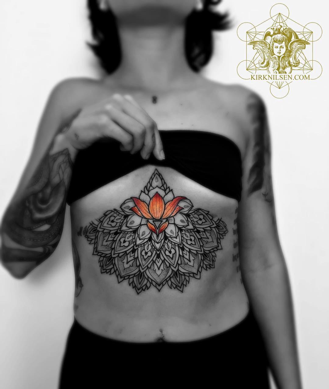 Mandala & Lotus Flower Underboob Tattoo