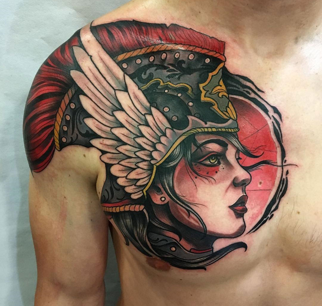 Valkyrie Neo Traditional Chest Shoulder Piece Best Tattoo Design