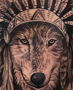 Wolf Headdress Hip Tattoo