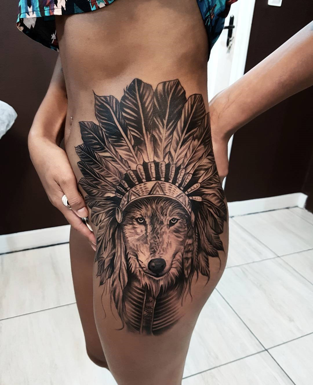 Wolf Headdress Hip Tattoo