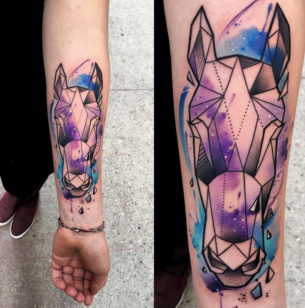 Geometric Horse With Watercolor Galaxy