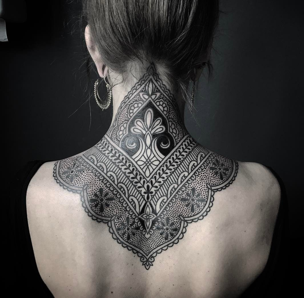 Ornamental Henna Style Neck Tattoo