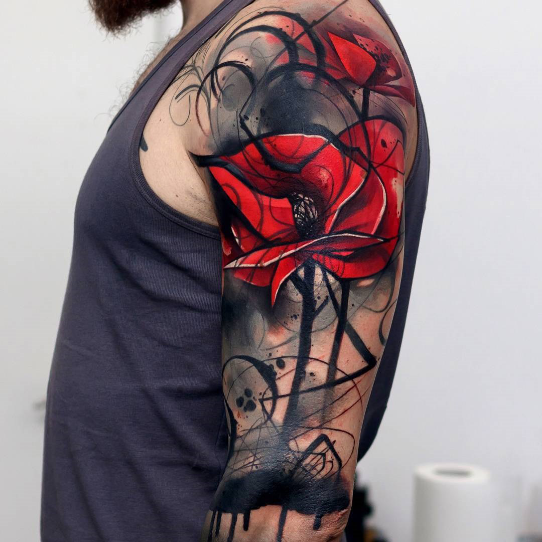 Abstract Poppies Mens Upper Arm Cover Up Best Tattoo Design Ideas