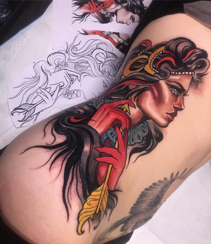 Warrior Woman Side Tattoo