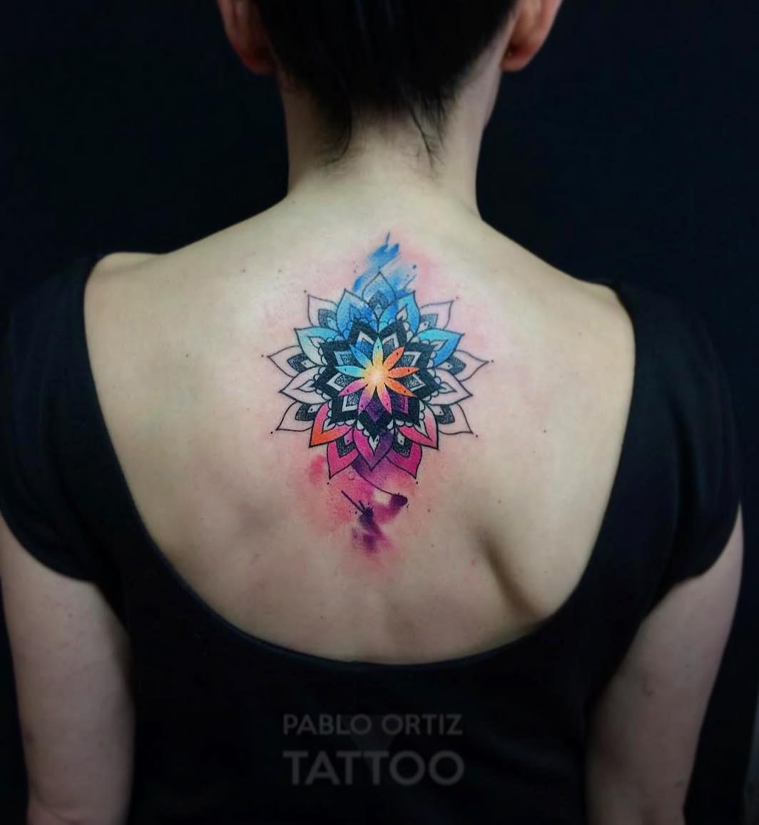 Back Mandala Tattoo: Vibrant Watercolor Mandala Back Piece