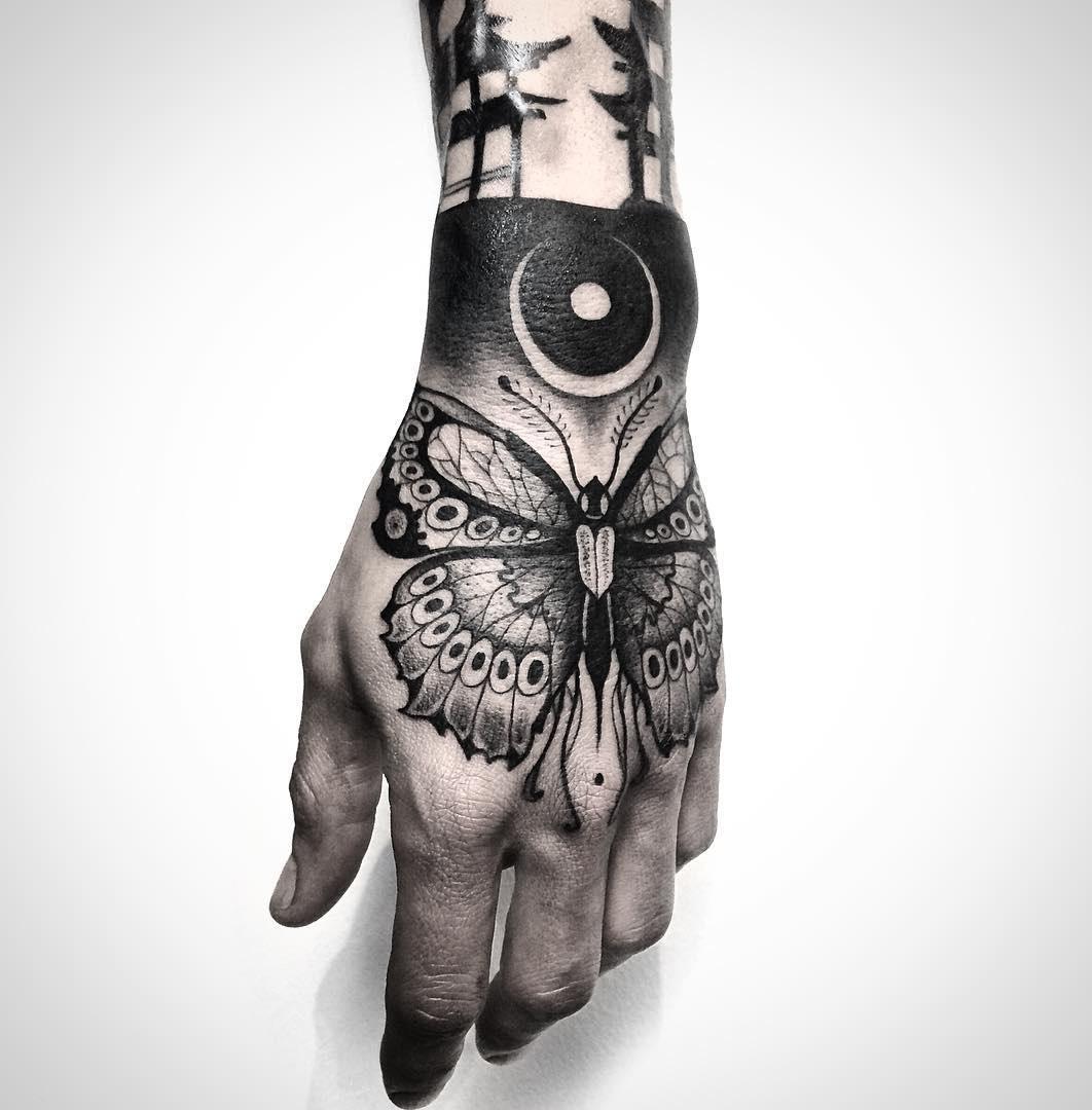 Butterfly mens hand tatt