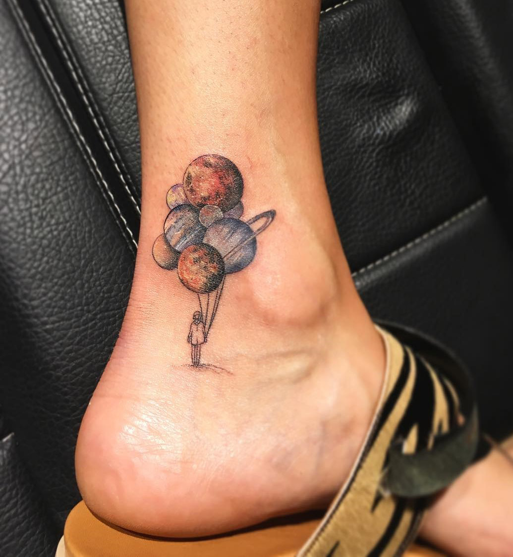 Planet Balloons On Girls Ankle Best Tattoo Design Ideas