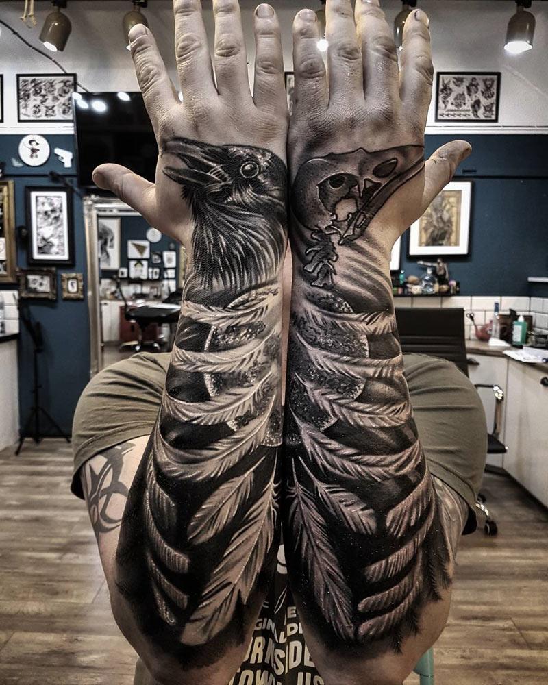 Raven Forearm & Hand Tattoos | Best tattoo design ideas