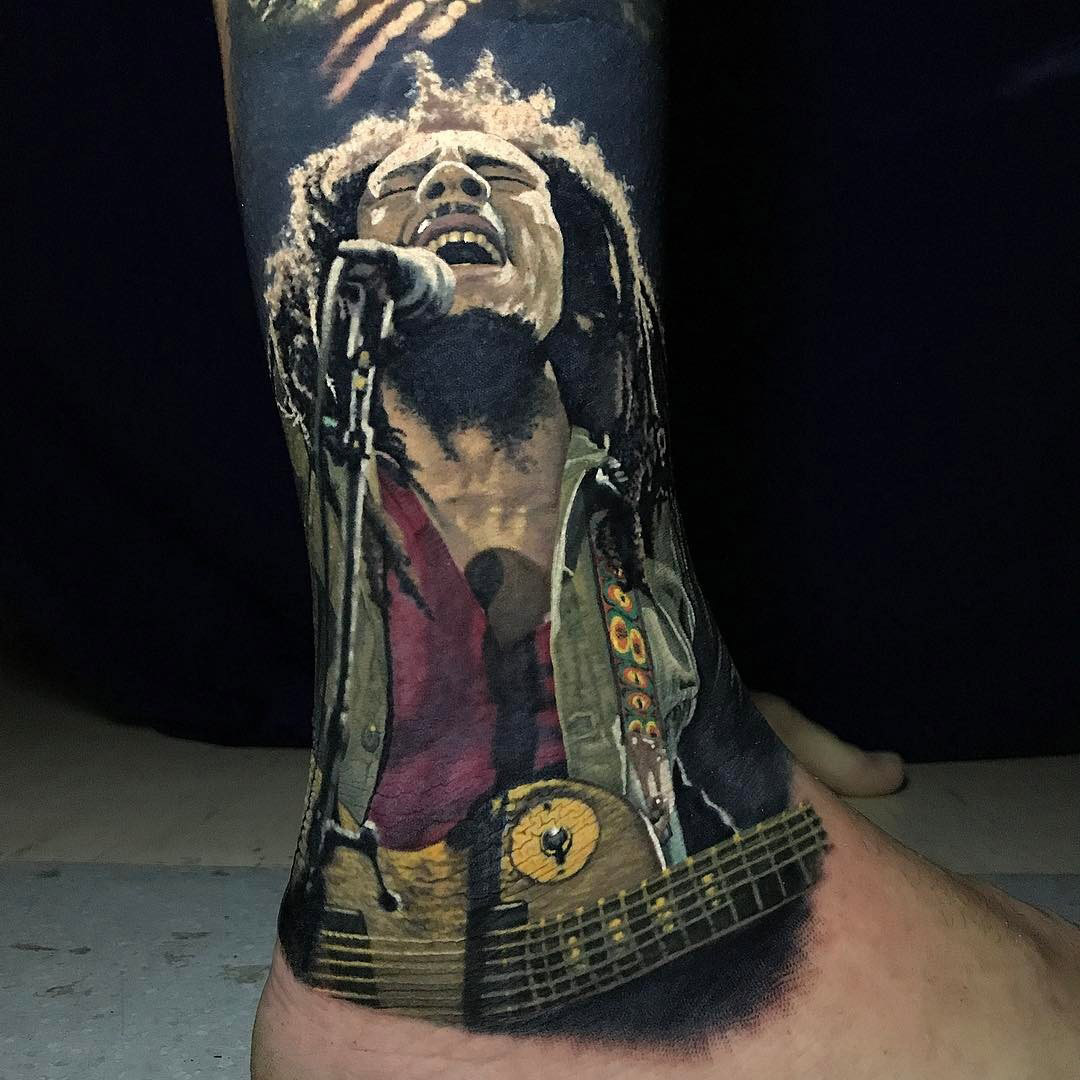 Bob Marley Singing Tattoo