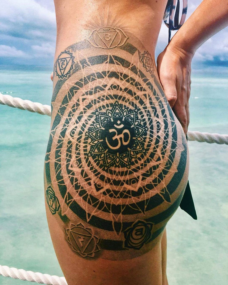 Om Mandala Hip With Mosaic Flow Best Tattoo Design Ideas