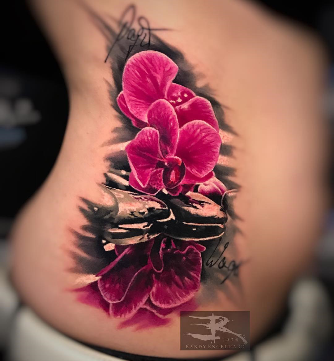 Pink Orchids Tattoo, girl's side