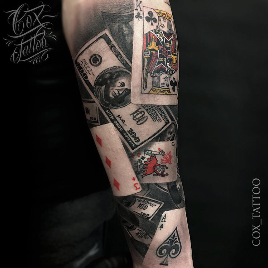 poker tattoo with playing cards money best tattoo design ideas. Black Bedroom Furniture Sets. Home Design Ideas