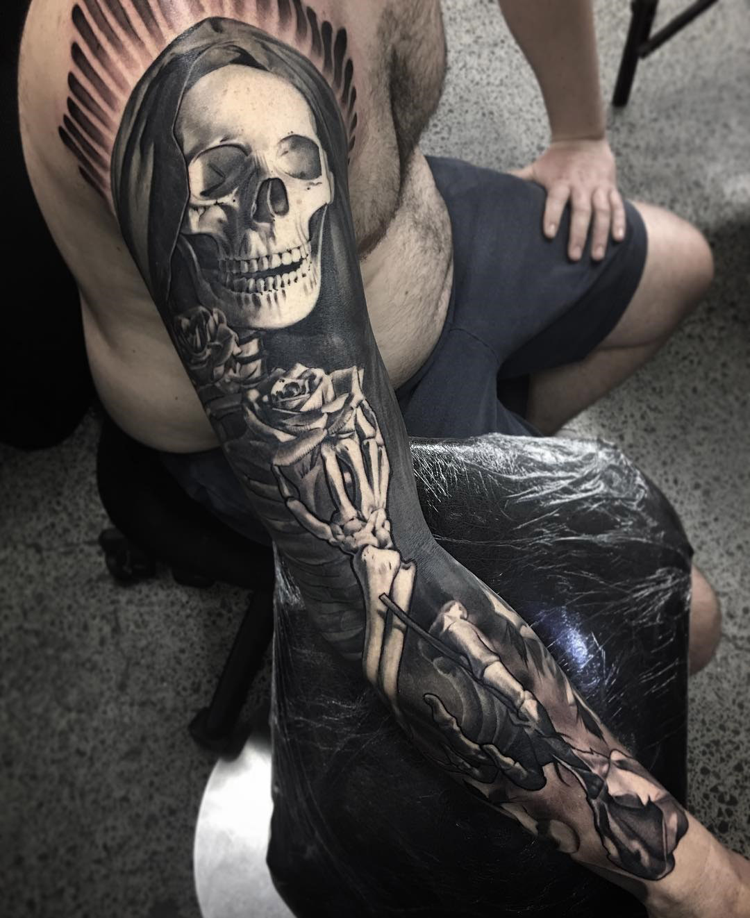 a beautiful death mens skeleton sleeve best tattoo design ideas. Black Bedroom Furniture Sets. Home Design Ideas