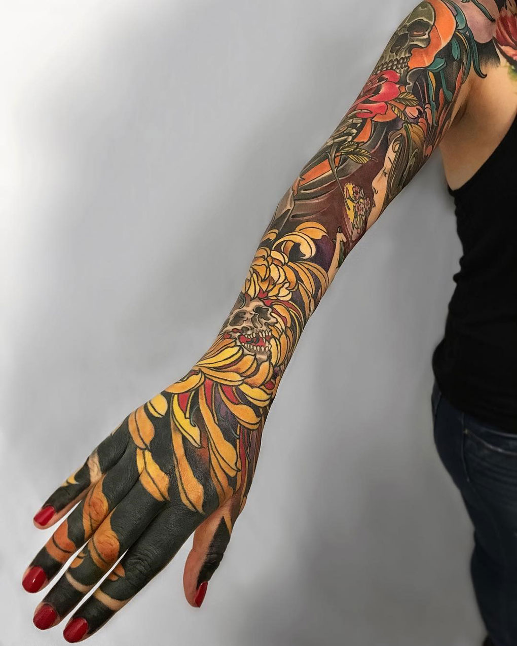 Japanese Style Floral Sleeve Best Tattoo Design Ideas