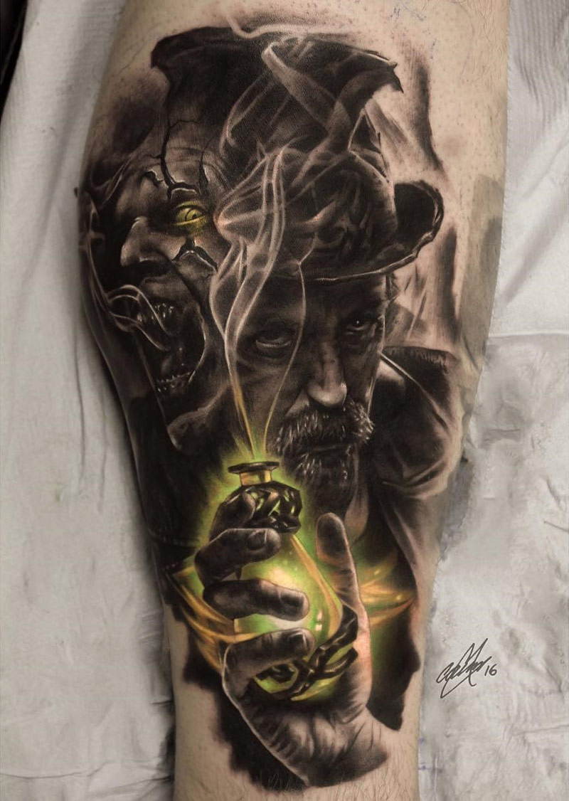 dr jekyll and mr hyde mens calf piece best tattoo design ideas. Black Bedroom Furniture Sets. Home Design Ideas
