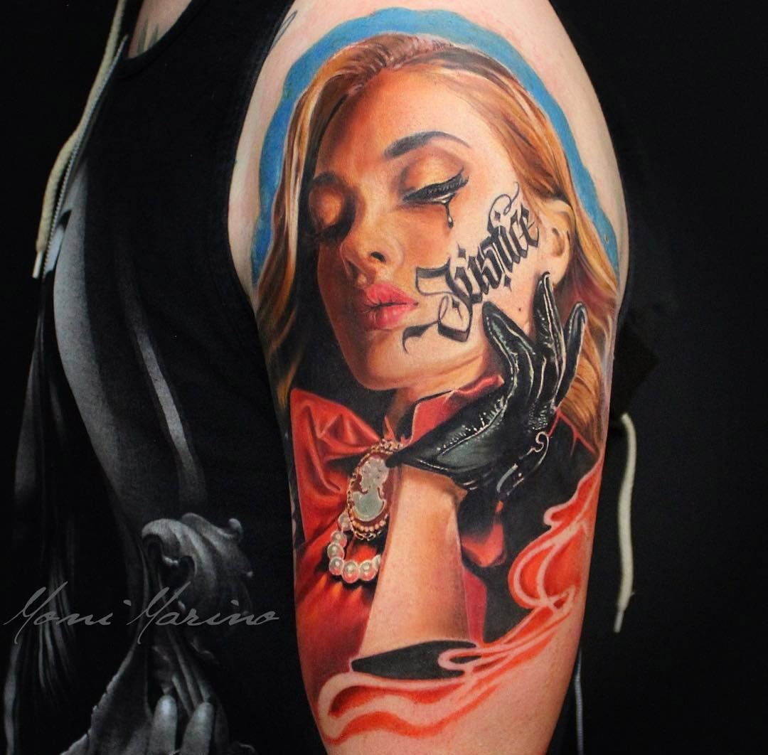 Portrait Tattoo With The Word Justice Best Tattoo Design Ideas