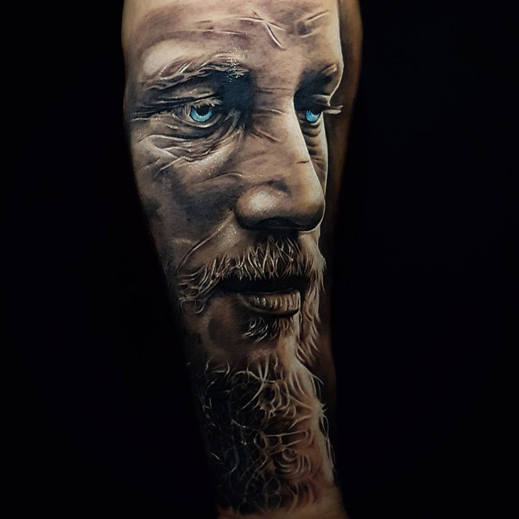 Ragnar Lodbrok portrait tattoo