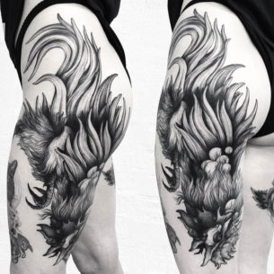 Rooster Hip & Thigh Tattoo
