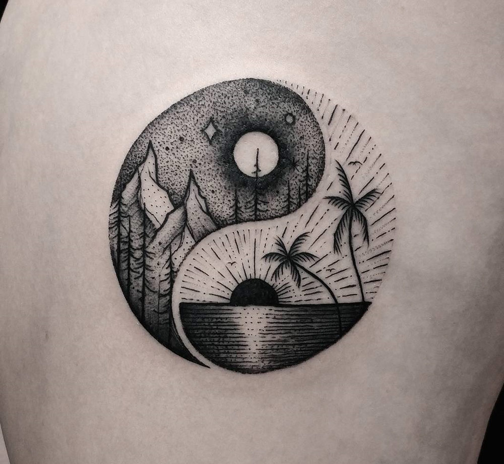 yin yang summer winter balance symbol best tattoo design ideas. Black Bedroom Furniture Sets. Home Design Ideas