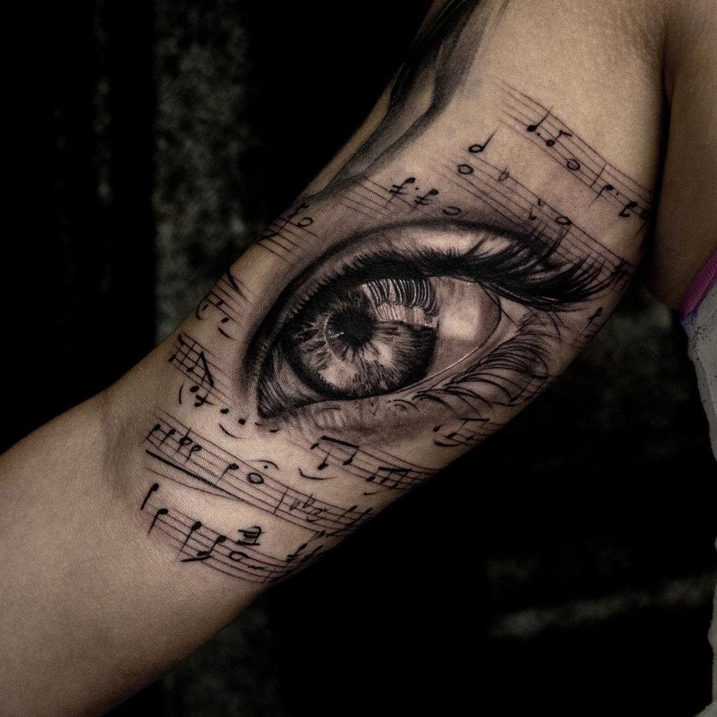 Tattoo Designs Related To Music: Musical Eye, Girls Arm Piece