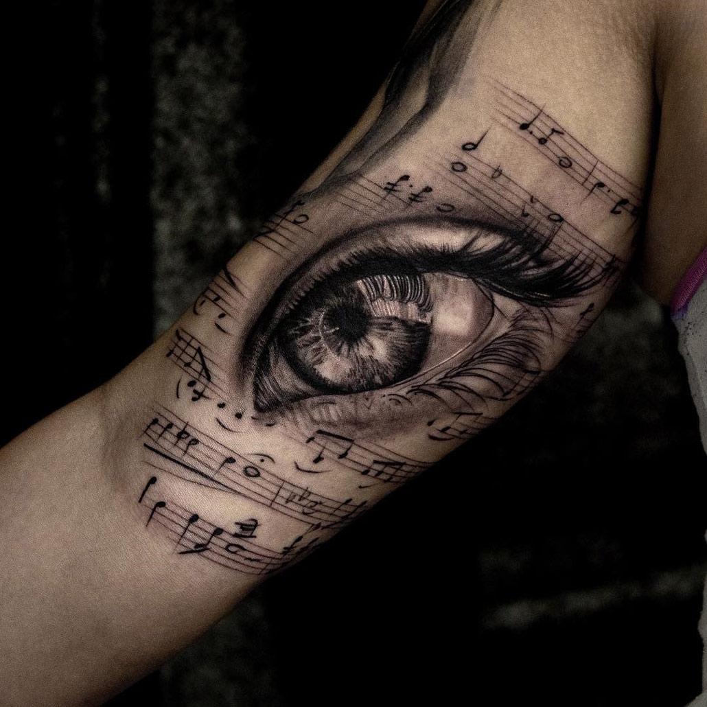 musical eye girls arm piece best tattoo design ideas. Black Bedroom Furniture Sets. Home Design Ideas