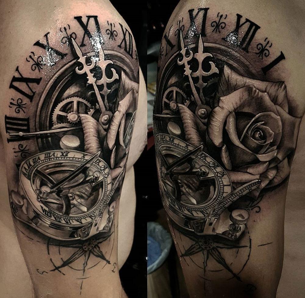 Clock, Sundial Compass & Rose, Mens Shoulder Piece