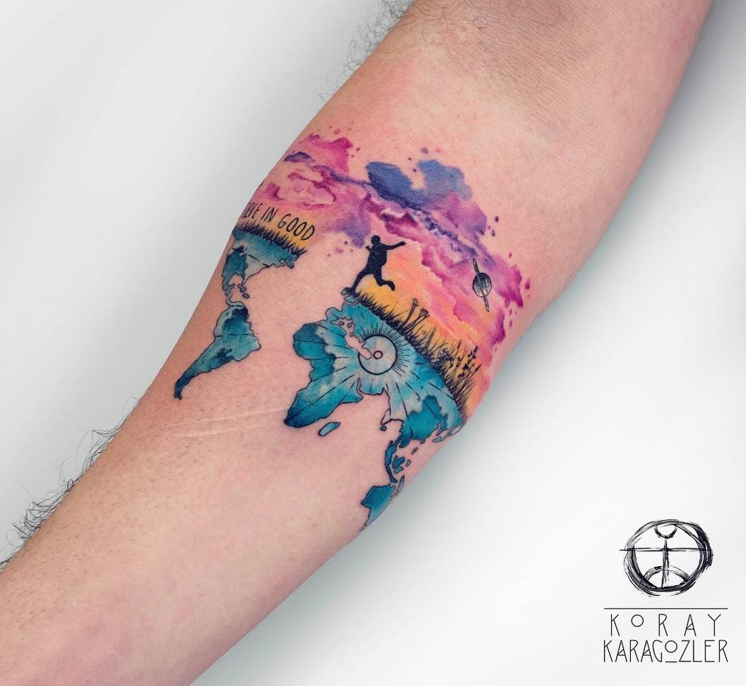 Travel tattoo, colorful map