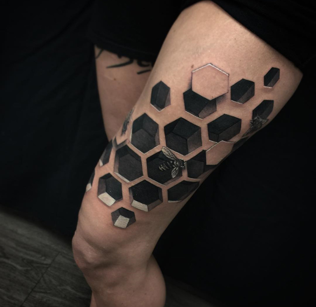 3D Bee Hive Tattoo