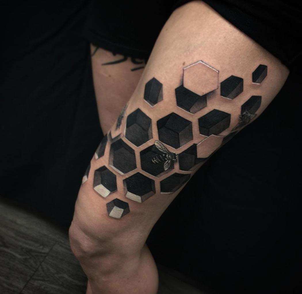 3d bee hive best tattoo design ideas