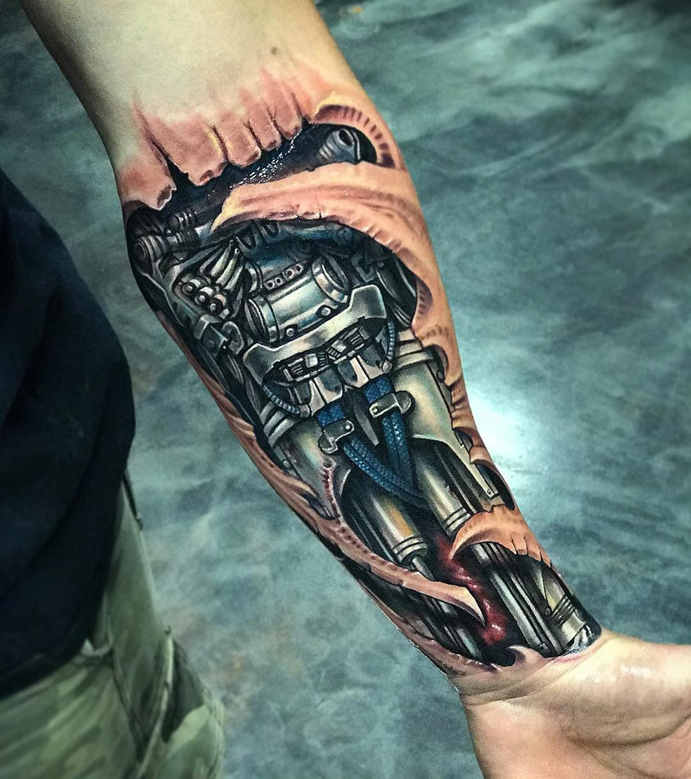 Robot Forearm, Mens Biomechanical Piece | Best tattoo design ideas