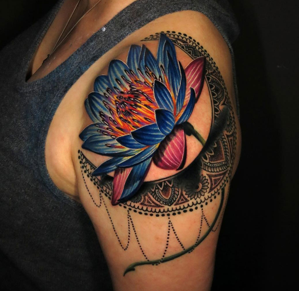 Vivid Lotus Flower Moon Best Tattoo Design Ideas