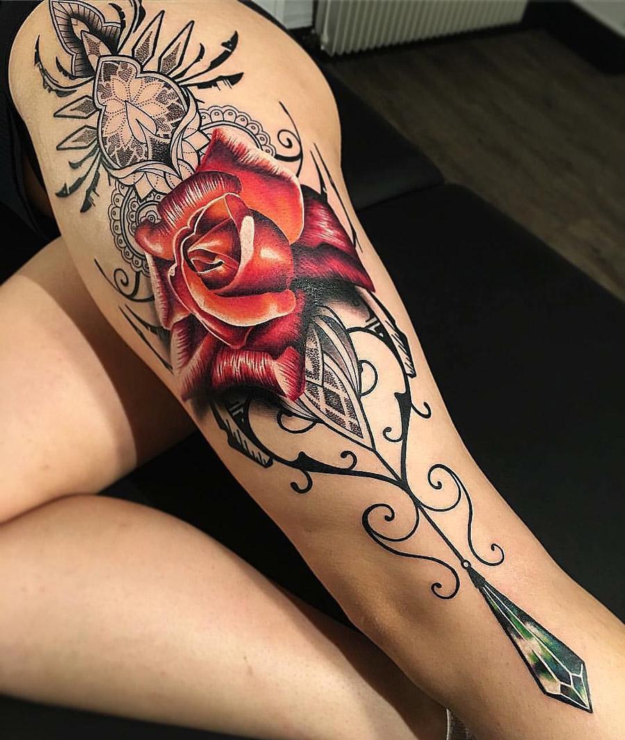 Ornamental leg with red rose best tattoo design ideas izmirmasajfo