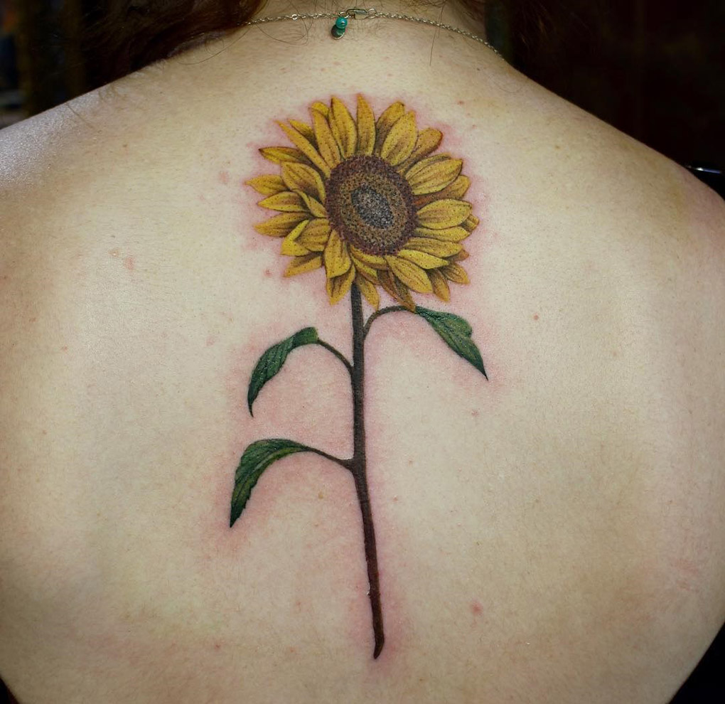Sunflower Back Tattoo