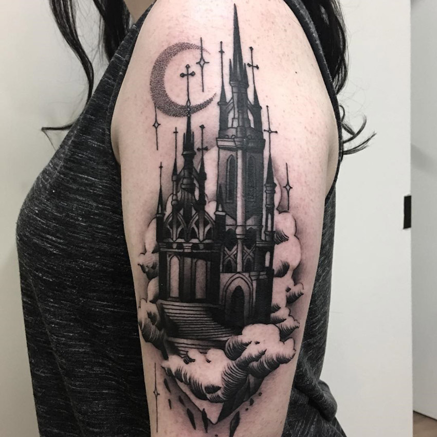 Haunted Castle Tattoo