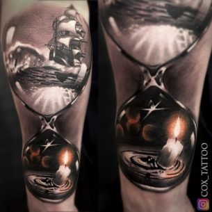 Hourglass With Ship & Candle