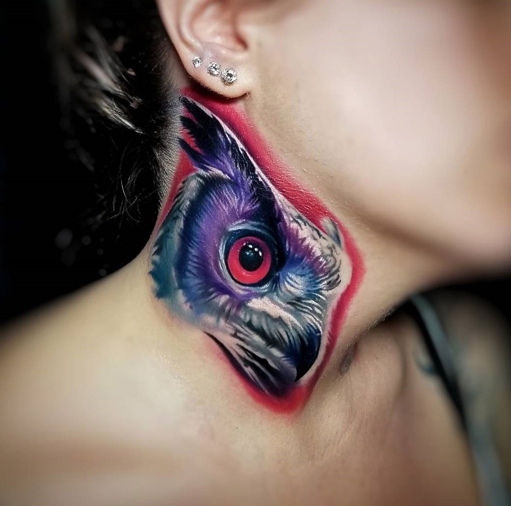 Colorful owl on girls neck best tattoo design ideas for Best neck tattoos