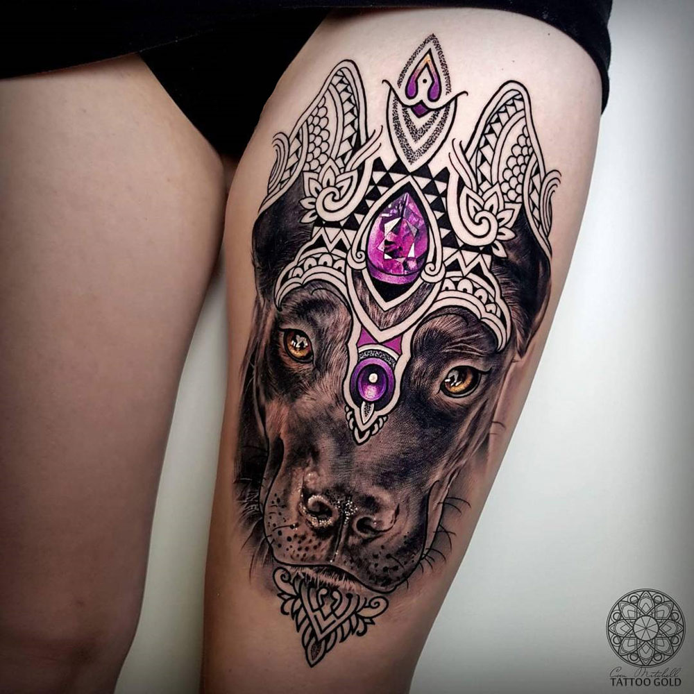 Dog portrait pet tattoo