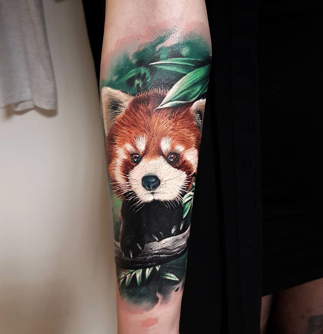 Red Panda arm tattoo