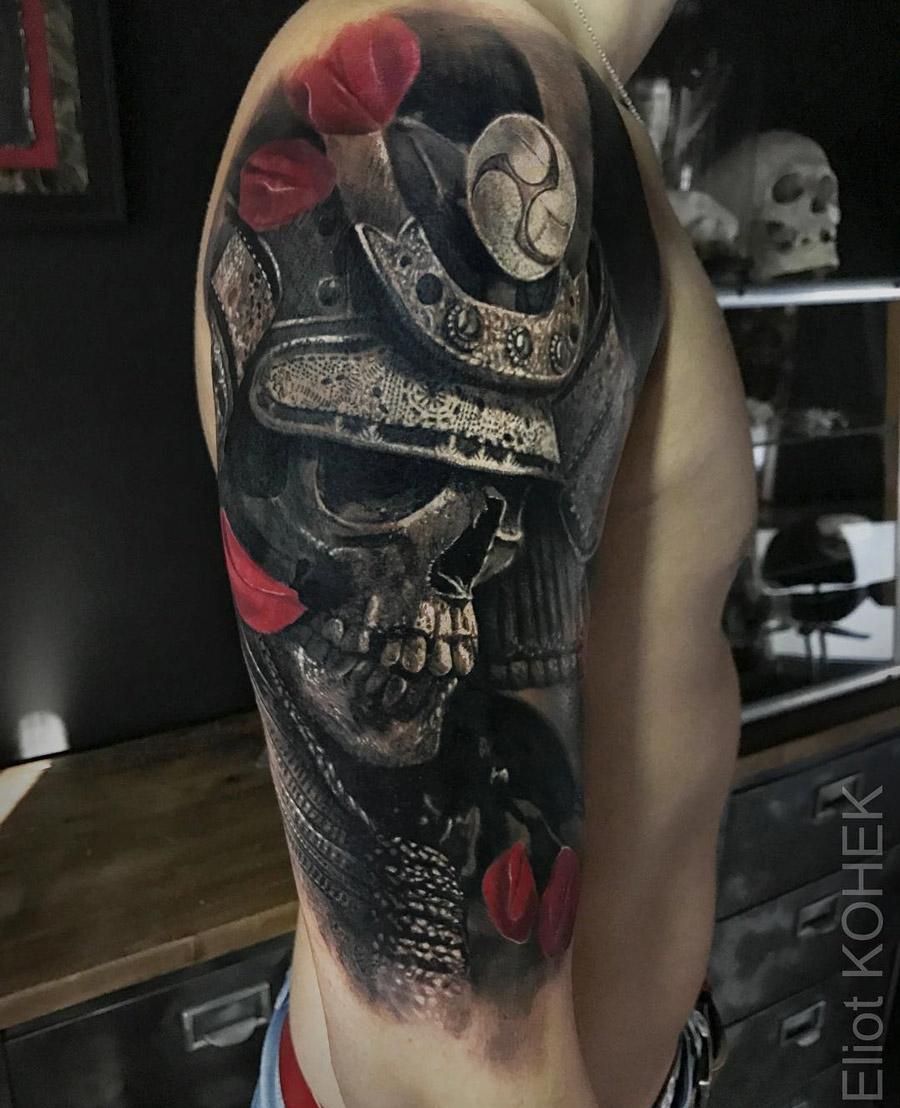 Samurai skull wearing armor