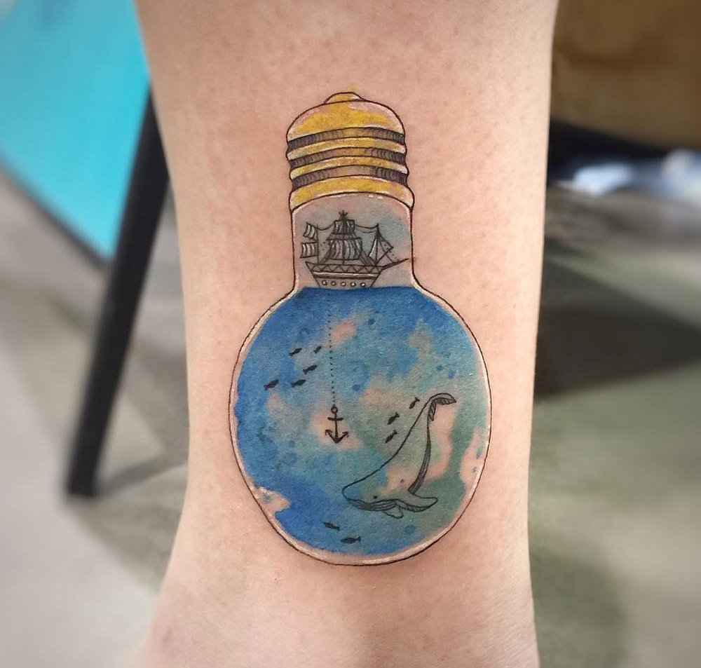 Whale & Sailing Ship Light Bulb