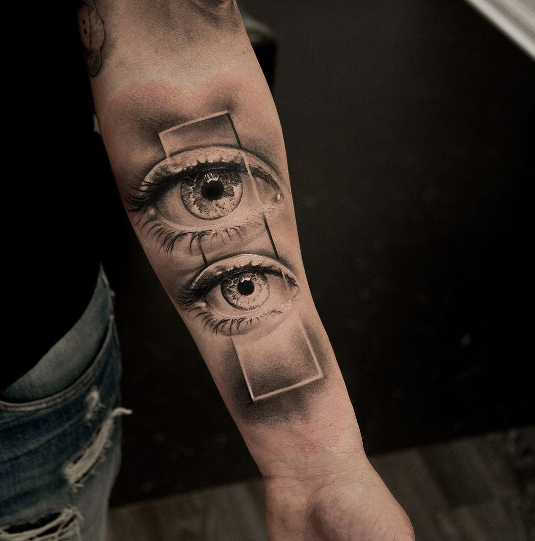 Double Vision, mens forearm tattoo