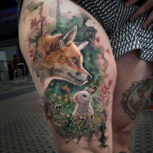 Realistic Fox & Rabbit