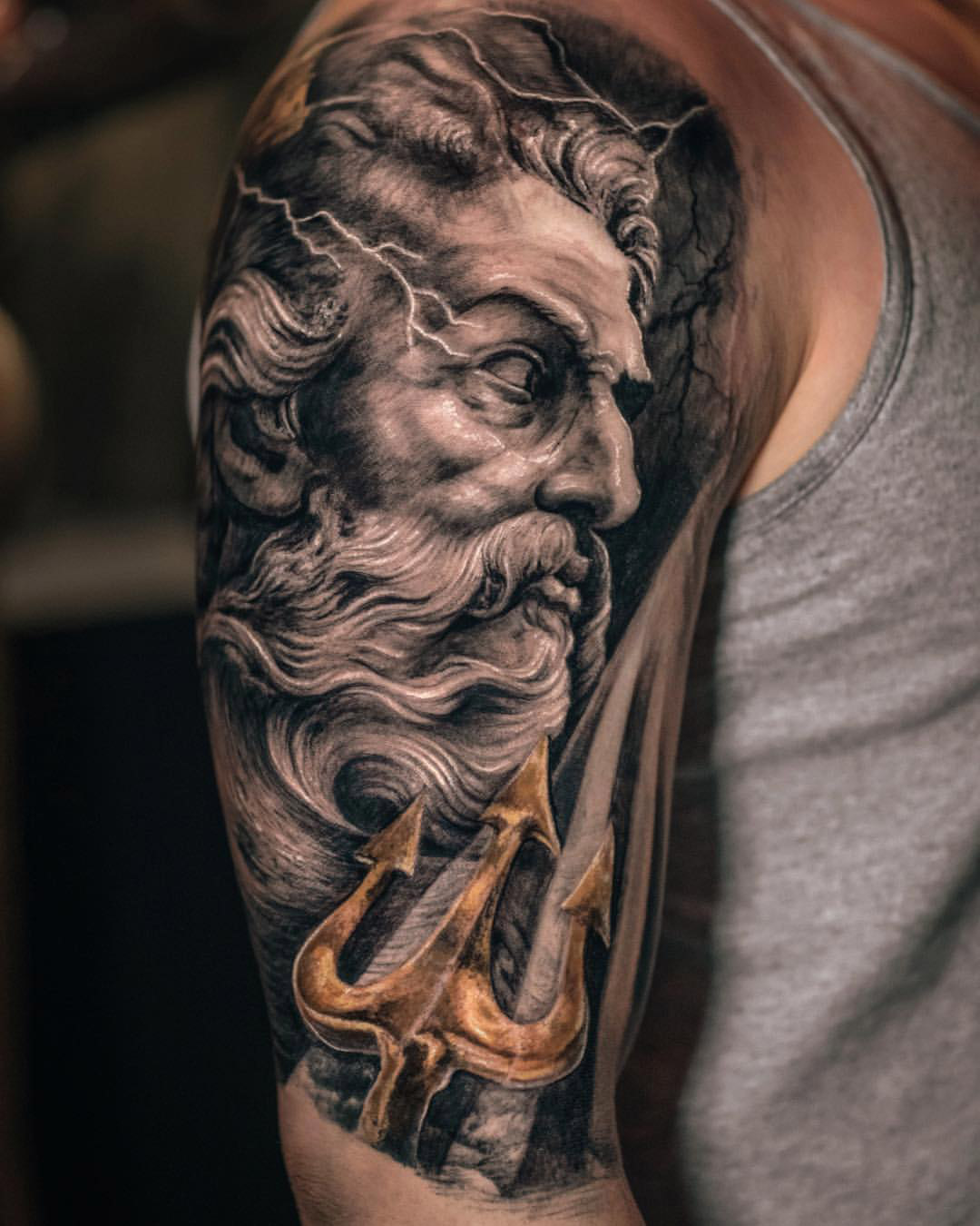 Neptune Portrait Tattoo