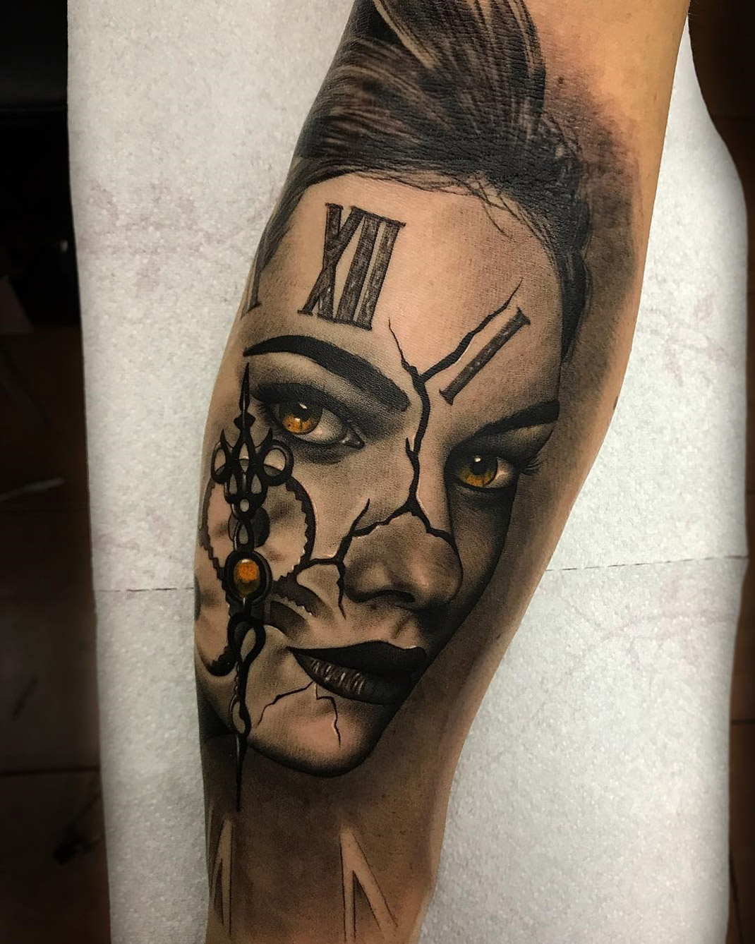 Out of Time, Portrait & Clock Face | Best tattoo design ideas