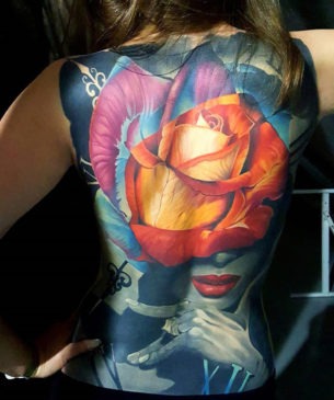 Colorful Rose, Full Back Tattoo
