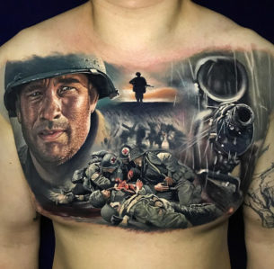 Saving Private Ryan Chest Tattoo