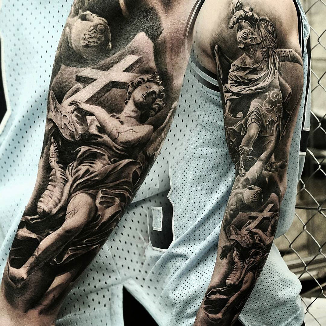 St Michael & Bernini Angel Statue | Best tattoo design ideas