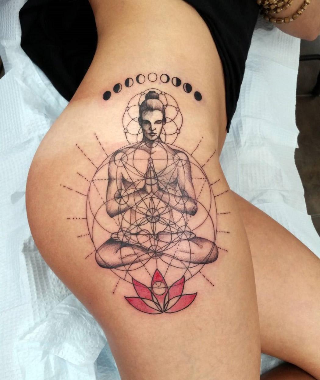 Yoga Pose, Girl's Hip Tattoo